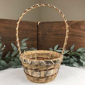 Birch Bark Nature Basket with Handle